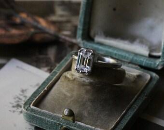 Moissanite Engagement Ring, Art Deco Engagement Ring, Solitaire Emerald Cut Ring, 14k Gold Ring, Diamond Alternative Engagement Ring.