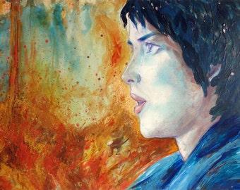 """Déco contemporaine : """"La flamme"""", portrait femme, peinture techniques mixtes, tableau décoration, art original, pièce unique"""