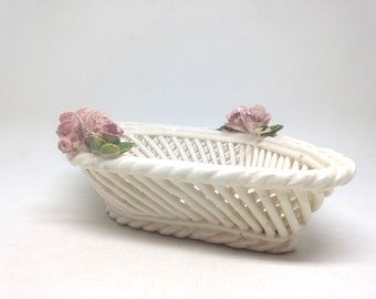 Vintage Ceramic White Diamond Shape Lattice Basket Porcelain Shabby Pink Roses