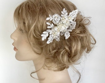 Bridal Hairpiece- Wedding Comb- Bridal Hair Accessories- Wedding Hairpiece- Bridal Hair Comb- Lace Bridal Comb- Pearl & Rhinestone Comb