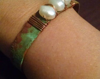Copper & 3 Pearl Cuff