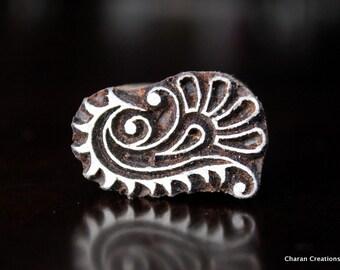 Hand Carved Indian Wood Stamp, Textile Stamp, Blockprint Stamp, Pottery Stamp - Floral Motif