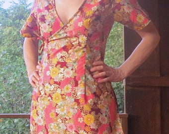 PROMO: 58 instead of 68 - tunic Kampot 'in the strawberry Japanese' Golden Japanese cotton T. S/M