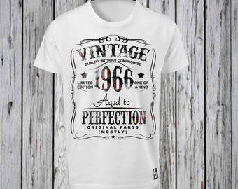 Vintage Birthday Iron Tshirt Design FILE ONLY! Birthday Tee shirt- Fifty Birthday Shirt- Pick a year- Aged to Perfection- Over the HIll