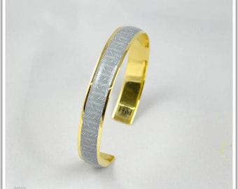 Bangle gold plated 24 K leaves of Palm gray small