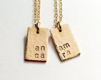 Friendship Gift, Mother Daughter Gift, Best Friend Necklace Set, Word Necklace, Message Jewelry, Best Friend Jewelry, Anam Cara Jewelry