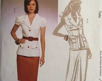 McCalls M5817, Size 6-8-10-12-14, Misses' Lined Jackets, Belt, Skirt and Pants Pattern, UNCUT, Semi-Fitted Jacket, Vest, Tapered Skirt, 2009