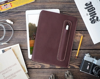 iPad 9.7 inch leather cover. iPad and Apple Pencil holder. iPad leather case. Dark brown color.