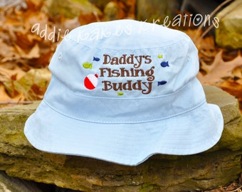 Daddy's Fishing Buddy Hat - Fishing Sun Hat - Grandpa's Fishing Buddy - Boys Sun Hat - Bucket Hat - Baby - Toddler -  Father's Day Gift
