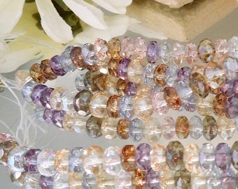 25 Facet Czech Glass Champagne, Blue, Amethyst Luster Mix Donut- 4x6mm- Bastet's Beads