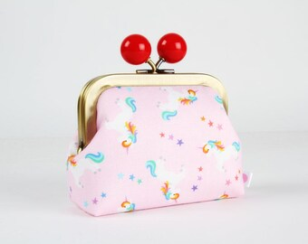 Metal frame coin purse with color bobble - Rainbow unicorns on pink - Color dad / white blue red orange purple yellow / Cute unicorns