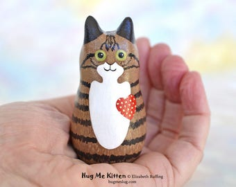 Handmade Kitty Cat Figurine, Tan, Brown, and Black Tabby, Red, Miniature Sculpture, Hug Me Kitten, Animal Charm Figure, Personalized Tag