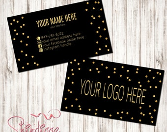 Custom Business Card, Business Card Design, Independent Consultant, Black, Gold, polka dots, inspired by LLR