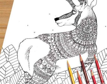 Deer coloring page Etsy