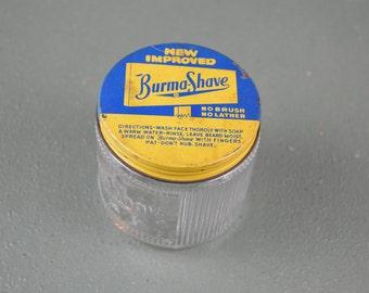 Burma Shave Jar, Vintage Shaving, Shaving Cream Jar, 1950s Shaving, Vintage Burma Cream, #405