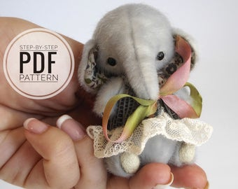 Elephant pattern, step-by-step Tutorials, soft toy PDF Pattern, artist elephant workshop,  how to make a soft toy, easy to follow tutorials