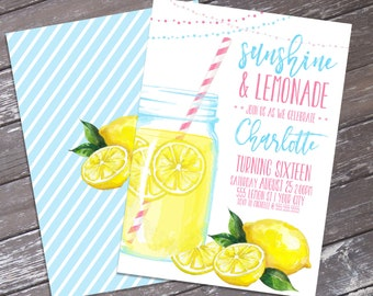 Lemonade Party Invitation - Sunshine & Lemonade, BBQ Party, Mason Jar Invite, Summer Party  | Editable Text - Instant Download PDF Printable