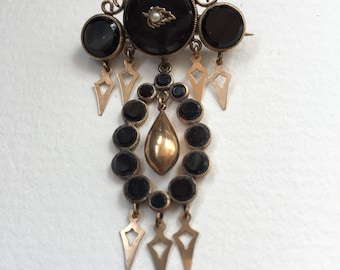 Victorian Pin with Onyx, Pearl and Gold Fill