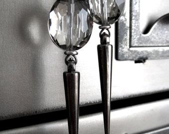 Metallic Spike Earrings - Dark Silver or Gunmetal Black Spike Earrings - Metallic Crystal - Goth Gothic Jewelry, Punk Rocker Girl Earrings
