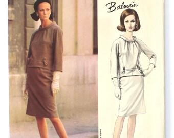 UNCUT Balmain Vogue Paris Original Pattern # 1445 Bust 34 Size 14 Two Piece Dress