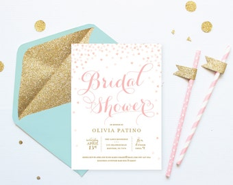 Printable Bridal Shower Invitation . Pink and Gold Invitation . Digital File Download . Printable . Pink hearts . Pink or Gold Glitter text