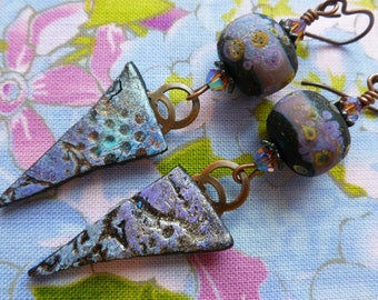 Pointed Purple Pendants, Boho Whimsical Earrings, One Of A Kind, Funky Artisan Made Earrings, Numinositybeads, outwest, Northernblooms,