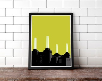 Battersea Power Station London Monument Thames Design Architecture Art Deco Print Poster Wall Art Poster Architectural Travel Free Shipping!