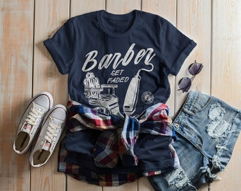 Women's Barber T-Shirt Get Faded Vintage Tee Chair Clippers Shirt For Barbers