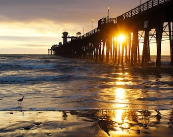 A Pier Lit Night, Ocean, Waves, Pier, Sunset, Oceanside, San Diego, Californa