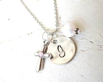 Girl's Baptism Gift. Children's Birthstone Cross Necklace. Circle Initial & Pearl Charm Necklace. First  Communion Gift. Birthstone Jewelry