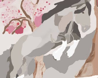 Cherry blossom winter. A multi media horse print