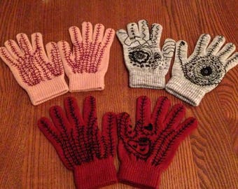 Hand Embroidered Machine Knit Gloves