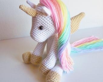 Plush Pastel Rainbow Unicorn / Stuffed Crochet Unicorn / Amigurumi Rainbow Unicorn Stuffed Animal