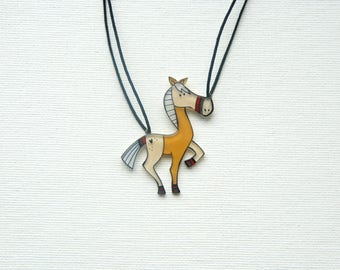 Horse necklace, animal jewelry, horse riding pendant
