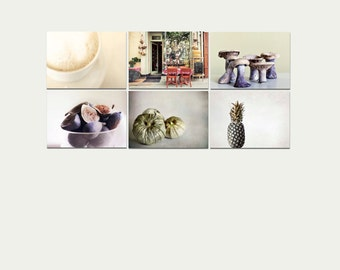 Food Prints, Rustic Kitchen Decor, Neutral, Beige, Brown, Cream, Food Photography, Set of 6 Prints