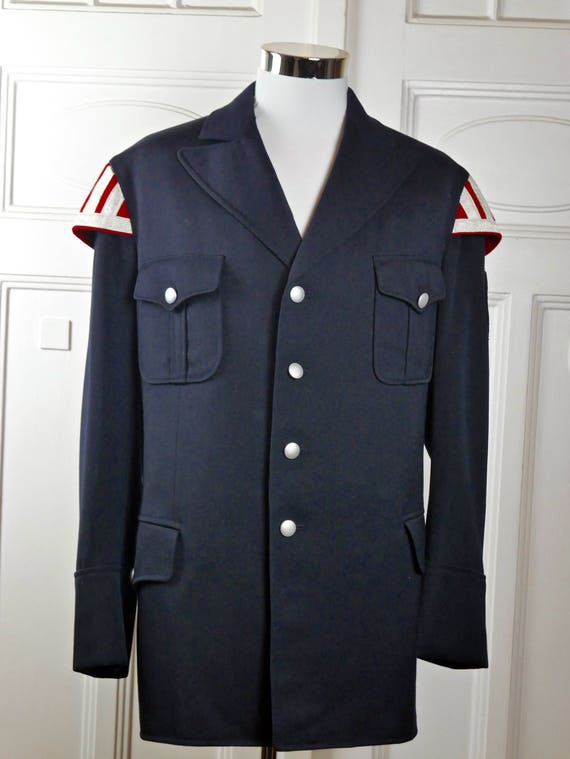 Vintage Military Jacket, Austrian Vintage Gray Dress Uniform Red Cross Jacket w Textured Silver Buttons: Size 54 US/UK