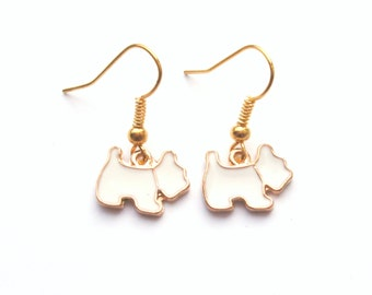 White Dog Earrings in Gold, Scottie Dog, Gold Earrings, Choose Gold Plated, Surgical Steel or Gold Filled Wires, also in Black, Pink or Blue
