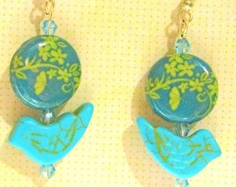 Bird Earrings, Blue Bird Earrings, Flower Earrings, Blue Flower Earrings