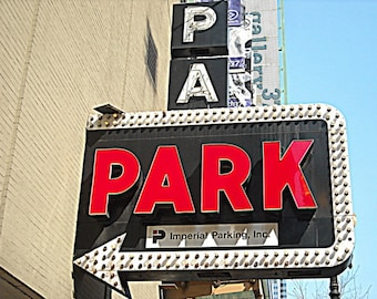 mid century photography, vintage neon arrow sign, Chicago Photo, red, black, industrial, city, cars, men, Signed Print - PARK