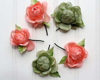 Vintage Millinery Flowers - Peach and Green - Japan - Large Roses