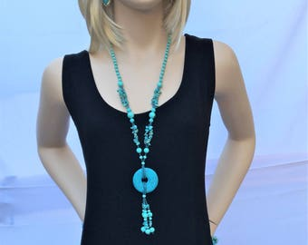 Turquoise  necklace, Holiday necklace, party necklace, stocking stuffers, boho jewelry, spring, necklace, her accessories.