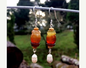 Sale - Agate and Freshwater Pearl Earrings