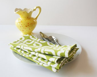 Organic Cloth Napkins // Set of 4 Eco-friendly Napkins in Green // Organic Gift for Her // Dinner Cloth Napkins
