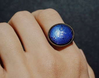 Glitter Galaxy Ring Blue Adjustable Ring Galaxy Jewelry Space Ring Universe Ring XL Statement Ring Space Jewelry Nebula Ring Glass Dome Ring