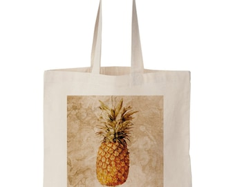 Pineapple Canvas Tote Bag - Pineapple Art, Bible Collage Art, Pineapple Christian Art, Natural Canvas tote, Pineapple Collage, 14''x 16''.
