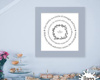 """Our Family Is a Circle / Personalized 16"""" x 16"""" Printable / Home Decor / Family Values / Leaf Wreath"""