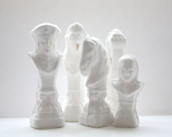 Chess piece - The Rook from English fine bone china with a gold drip.