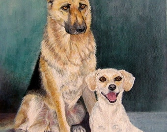 Original Custom Portrait Painting, 2 pets from your photos,oil painting on canvas, eg dogs painting, German Shepherd, Jack Russell