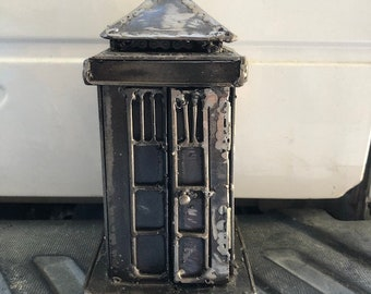 Hand Made TARDIS Dr. Who-E 8 Inches Recycled Scrap Metal