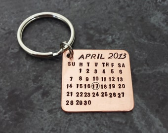 Calendar Key Chain - Mark the Date Stamped Copper Calendar - Save the Date Hand Stamped Calendar- Fathers Day - Gifts for Dad
